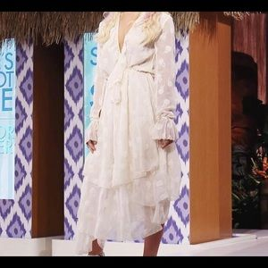 H&M STUDIO Boho Flowy Cream Midi Dress | Size 2